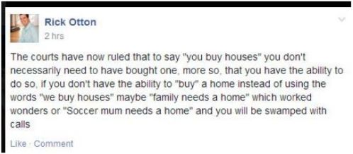 facebook comment re we buy houses